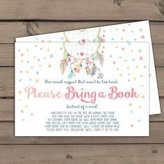 Baby shower Bring a book card Dreamcatcher by Anietillustration