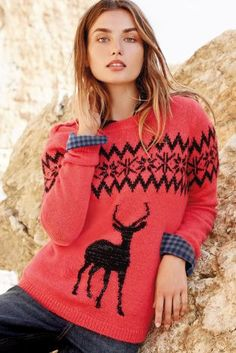 Step away from the traditional Christmas jumper this year and add a pop of colour to your winter wardrobe with this Fairisle Pattern Stag Sweater from Next.