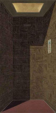 Domenico Gnoli, Fahrstuhl (L'Ascenseur) (The Lift), Oil and sand on canvas, 22¼ x 35¼ in. circa 1967.