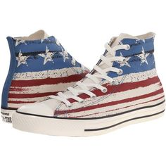 Converse Chuck Taylor All Star Flag Print Hi (Chili... (60 CAD) ❤ liked on Polyvore featuring shoes, sneakers, converse, beige, american flag sneakers, lace up high top sneakers, star sneakers, lace up shoes and lacing sneakers