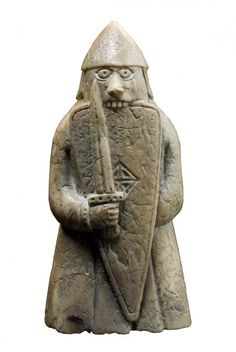 Lewis chessman berserker bites his shield - this is the accepted notion of the berserker, who brought himself to fever pitch before a battle and afterwards was left shaking like a leaf (a bit like your heavy metal rock stars of the Viking Dragon, Viking Art, Viking Berserker, Vikings Time, Chess Pieces, Game Pieces, Scottish Clans, Celtic Art, National Museum