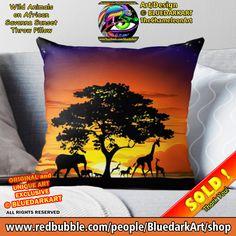 SOLD! Thanks! 🌴 #wild #animals On #african #savanna #sunset #Throw #pillow 🌴 #Design © #BluedarkArt #TheChameleonArt👉 www.redbubble.com/i/throw-pillow/Wild-Animals-on-African-Savanna-Sunset-by-BluedarkArt/10590028.5X2YF . 🔥 €15.19 when you buy 2+ 🔥 Visit my #Shop 👉 www.redbubble.com/people/BluedarkArt/shop . #sales #discount #shopsales #promotion #onsale #forsale #designbybluedarkart #designtrends #copyrightbluedarkart #giftideas #homedecor #originalgift #africalovers #trending #shopping
