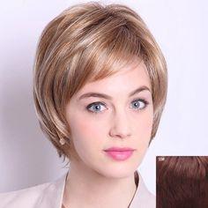 Fashion Short Layered Straight Noble Inclined Bang Capless Human Hair Wig For Women - DARK AUBURN BROWN