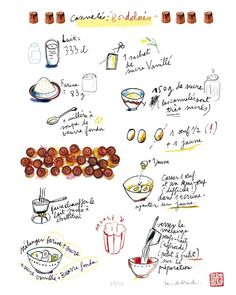 Items similar to A french cake recipe No 1 - Les cannelés bordelais - 8 X 10 Limited edition print No - Food illustration - The kitchen collection on Etsy French Cake, French Food, Cooking Icon, Cooking Tips, Salad Recipes, Cake Recipes, Bolo Cake, Coffee And Books, Kitchen Art