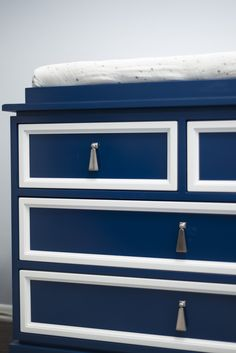 The Guncles Nursery Reveal: we love this duc duc Regency Dresser in Blue