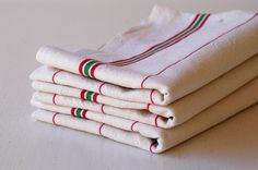 French torchon / 3 large vintage tea towels / retro by BOULOTDODO