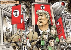 Cartoon by Angelo Lopez - Scapegoating Another example of a political cartoon. Trump is seen here like Hitler, with all the red banners and soldiers dressed.