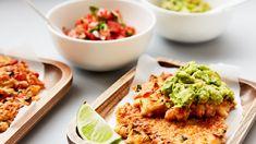 Poh's Corn Fritters with Guacamole & Salsa - Harris Scarfe Vegetarian Recipes, Cooking Recipes, Savoury Recipes, Guacamole Salsa, Corn Fritters, Lime Wedge, Salsa Recipe, Frittata, Stuffed Mushrooms