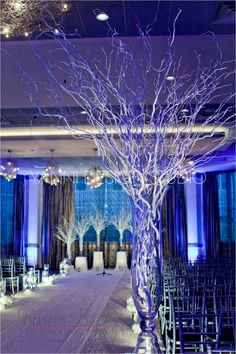 A whimsical set up complete with branches, lights, and drapery #vase #branches #lights #drapery