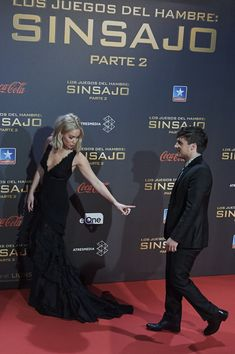 "Actress Jennifer Lawrence and actor Josh Hutcherson attend ""The Hunger Games: Mockingjay - Part 2"" (Los Juegos del Hambre: Sinsajo Parte 2) premiere at the Kinepolis Cinema on November 10, 2015 in Madrid, Spain."