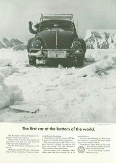 """The red terror"" first car on antarctica VW beatle"