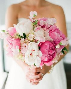 peony and sweet pea wedding bouquet
