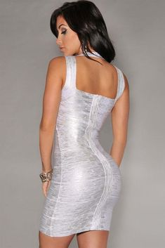 New Fashion Silver Foil Print Bandage Dress Celebrity Style and other designs of foil bandage dresses are the hottest trend for now since people spotted that more and more celebrities wearing these kinds of bandage dresses attending all kinds of social activities. Explore more alluring sexy designs of VictoryRoze.com clothing cheap, you will find our sexy dresses are not only of high quality but very cost-effective for customers. And you may also want to look the sexy bandeau bandage dresses…