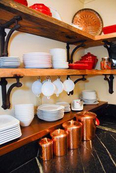 reclaimed pecan shelves & Restoration Hardware brackets; soapstone & copper countertops; by Hello Kitchen