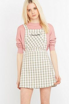 Urban Renewal Vintage Remnants Checked Pinafore Dress - Urban Outfitters