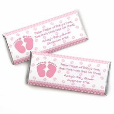Baby Feet Pink - Personalized Baby Shower Candy Bar Wrapper Favors…