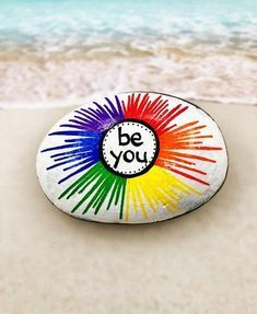 Rock Painting Ideas Discover Be You Rock Rainbow Rock Rainbow Painted Rock Words of Encouragement Stone Affirmation Rocks Painted Rock Be You Rainbow Painting Rock Painting Patterns, Rock Painting Ideas Easy, Rock Painting Designs, Rock Painting Kids, Ladybug Rock Painting, Pebble Painting, Pebble Art, Diy Painting, Painting Furniture