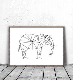 geometric rhinoceros instant download digital by