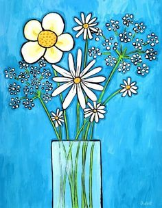White Flowers Blue por AliceinParis en Etsy, $21.00