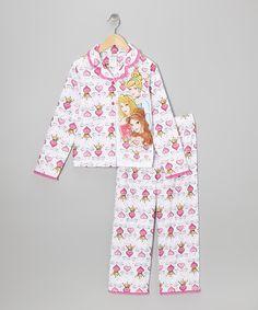 SAVANNAH Take a look at this White Princess Hearts Button-Up Pajama Set - Girls on zulily today!