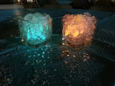 Wedding table idea! Place glow sticks into gel cubes and surround with glitter!! Use the wedding theme colors! So pretty :) :)