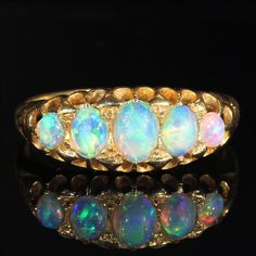 Antique Victorian 5 Stone Opal Half Hoop Ring by VictoriaSterling