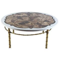 Agate, Marble and Brass Round Cocktail Table