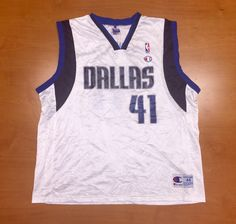 Vintage 1990s Dirk Nowitzki Dallas Mavericks Champion Jersey Size 44 hat  shirt mavs rolando blackman cedric ceballos mark aguirre nba finals dcb544d41