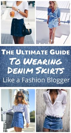 How to Wear a Denim Skirt! So many cute ways to wear denim skirts for fall, winter, and summer! Tips on wearing denim! Love these denim skirt outfit ideas