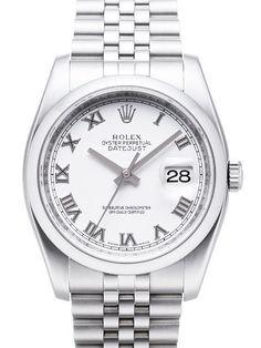 Rolex Oyster Datejust 36 116200 Weiß Römisch Jubile-Band