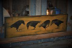 "26"" Long Wood Sign Primitive Olde Crows Rustic Country Folk Art Home Decor #NaivePrimitive #ArtistReginaFrye"