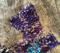 Darning using multicolor sock yarn