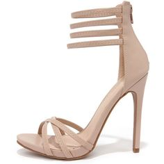 697c619a367 On the Prowl Nude Ankle Strap Heels (130 AED) ❤ liked on Polyvore featuring