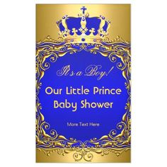 Royal Blue Gold Crown Child Bathe Boy Banner. >>> Learn more by clicking the image