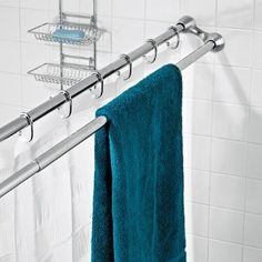 towel bar built into curtain rod...maybe just get a second curtain rod and install a few inches from the first