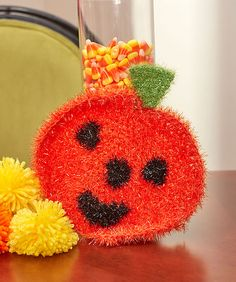 This happy pumpkin has a sparkling personality thanks to the Scrubby Sparkle yarn! He's fun to crochet and give as an alternative to sweet treats for Halloween. He's perfect for use in the bath or at the kitchen sink! Crochet Pumpkin, Crochet Fall, All Free Crochet, Halloween Crochet, Irish Crochet, Halloween Knitting, Holiday Crochet, Cotton Crochet, Halloween Crafts