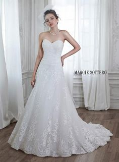 Discover the Maggie Sottero Corrina Bridal Gown. Find exceptional Maggie Sottero Bridal Gowns at The Wedding Shoppe A Line Bridal Gowns, Bridal Party Dresses, Wedding Dresses Photos, Wedding Dress Styles, Designer Wedding Dresses, Bridesmaid Dresses, Sheath Dresses, Lace Wedding Dress, Wedding Gowns