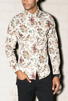 Floral Print Collared Shirt | 21 MEN - 2000080883 | Closet ...