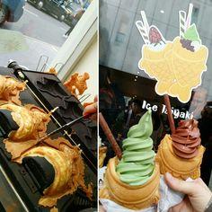 Matcha and chocolate ice-cream filled Taiyaki!