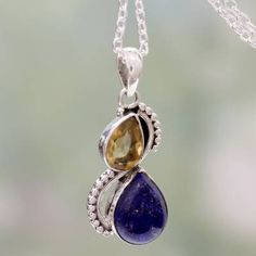 Lapis lazuli and citrine pendant necklace, 'Two Teardrops' - India Silver and Lapis Lazuli Necklace with Faceted Citrine Handmade Sterling Silver, Sterling Silver Jewelry, Gemstone Jewelry, Wire Jewelry Patterns, Handmade Wedding Gifts, Fashion Jewelry Stores, Citrine Pendant, Thing 1, Silver Work
