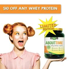Any Whey protein your desires -- but we think you should take advantage and get our LIMITED edition flavor >>ORANGE CREAMSICLE  just sayin'  use code FREE10 at checkout for $10 OFF any 2lb Tub >>TryAboutTime.com/Shop  #TryAboutTime #WheyProtein #orangecreamsicle #summertime #supplements #workout #sale #28dayjumpstart