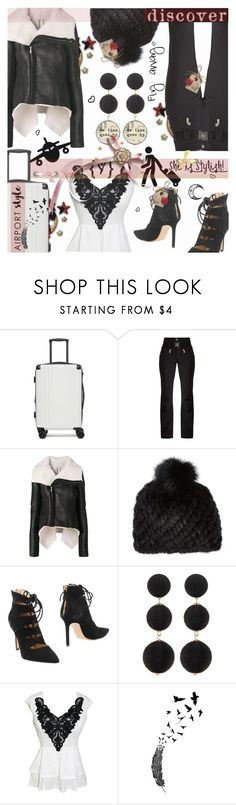"""""""Airport style"""" by tempestaartica ❤ liked on Polyvore featuring CalPak, Toni Sailer, Rick Owens, Barneys New York, Roberto Festa, Cara and airportstyle"""