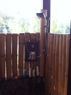 Inside of friends outdoor shower using bamboo