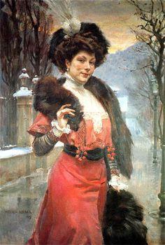 "Black accessories for red dress: Wojciech Kossak, ""Portrait of Sophia Hoesickowej,"" 1909"