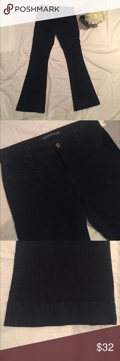 Final Price🔹Mia Slim Flare Dark Blue Jean🔹 Gently worn. In good condition. Fits snug from top to knee and then flares out at the bottom. Gives you a nice curvy figure 🍑 size is 8 regular. Looks almost black in photo but it is dark blue denim in person. Express Jeans Flare & Wide Leg
