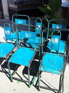 Vintage Industrial Chairs Old Blue Paint  by coloniaantiques, Etsy.