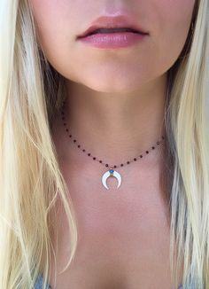 Rose Gold Garnet Rosary Chain Double Horn Necklace with Turquoise! On Etsy!!! Choker Necklace, Crescent Moon Necklace, Boho Jewelry