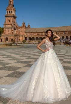crystal design 2017 bridal sleeveless strap v neck heavily embellished bodice romantic a  line wedding dress v open back long train (selma) mv
