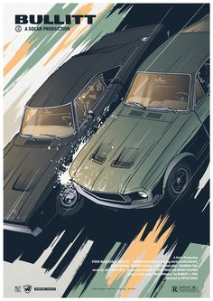 Bullitt Polish Poster inspired by film film, USA reżyseria: Peter Yates aktorzy: Steve McQueen, Jacqueline Bisset, Robert Vaughn, Robert Duvall Original Polish Poster Best Movie Posters, Car Posters, Movie Poster Art, Muscle Cars, Film Cars, Movie Cars, Auto Poster, Up Auto, Car Illustration
