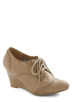 On the Wingtip Wedge in Tan - Mid, Tan, Solid, Menswear Inspired, Wedge, Lace Up, Variation, Top Rated